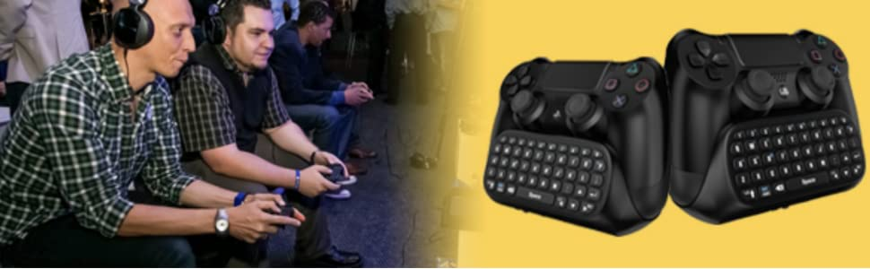 two gamers playing video games using gamers digital mini chatpads with headset connected
